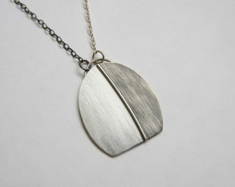 Grey Shadow Pendant oxidized silver oval modern asymmetric necklace handfabricated