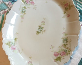 Vintage Shabby Chic Platter Pink and Blue Roses Made in Austria O and EG Royal China #3986
