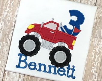 Monster Truck Birthday Shirt Applique Embroidery