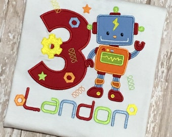Robot and Gears Applique Embroidery Birthday Shirt