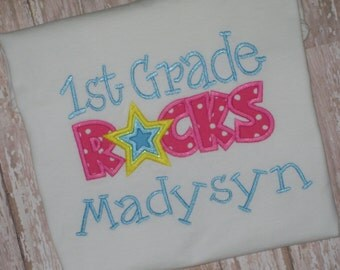 1st Grade Rocks Applique Shirt