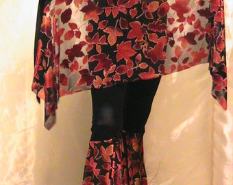 ATS, Tribal, Festival and Flamenco Flare Pants & skirt Set  in Black Lycra with flocked velvet Fall Maple leaf flares
