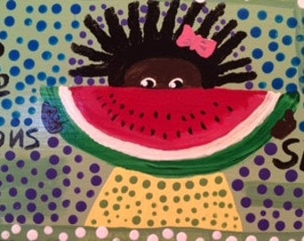 Her NAME is DOT she sells WATERMELON original painting by nita marked 1/2 off