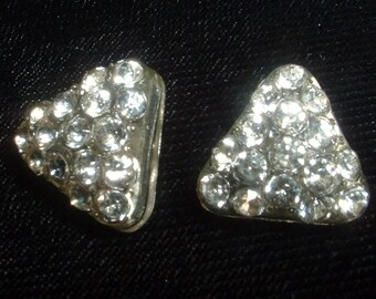 PAIR of Vintage Clear Lucite Rhinestone Tri Angle Shaped Buttons 1940