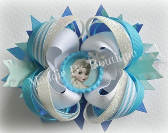 Elsa hair bow-Disney character-stacked grosgrain hair bow- Made by Maddie B's Boutique on Etsy
