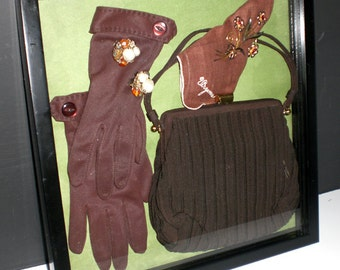 Shadow Box, Vintage purse, brooch, gloves, hankie, earrings,Van Dell,Japan, Virginia, Brown, Display,OOAK