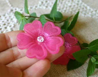 25pcs Frosted Lucite Flower Fuchsia Beads Acrylic 42x7mm Iced