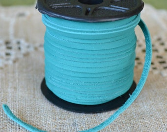 2 Yards 3mm Cord Deertan Leather 1/8-inch Soft Turquoise Lace