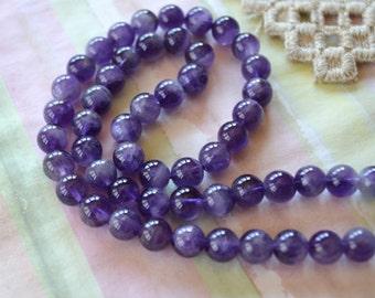 Amethyst 5mm Round Beads Gemstone Bead 16 Inch Strand