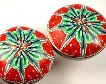 Polymer Clay Cabinet Knobs Pulls  8 red green blue Unique Handmade cabinet knobs  Decorative Drawer knobs furniture knobs