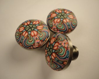 Polymer ClayCabinet Knobs/Pulls 8 decorative unique drawer knobs Polymer Clay over Metal  orange multi colored  choice of 2 finishes