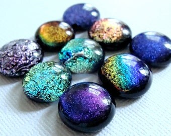 Dichroic Fused Glass Cabochons 14 to 16 mm Lot of 9
