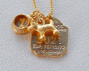 Dog Necklace, Dog License, Dog Bowl, Dog Charm Necklace, Puppy Love, Gift for Her