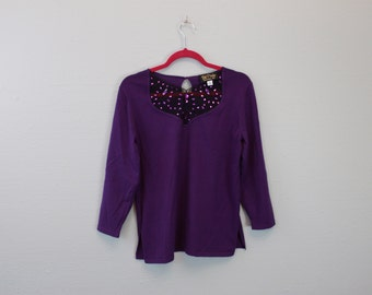 Vintage Slouchy Top Purple shirt with Bling by Bob Mackie Wearable Art