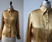 Vintage SILK Gold Classic Blouse Fitted 90s Oxford Shirt size S
