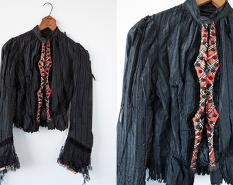 SALE 50% OFF Victorian Antique Tattered Black Silk Jacket with Plaid Button Placket XS-S