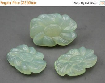 Clearance Carved Chalcedony flowers  Set of Cabochons