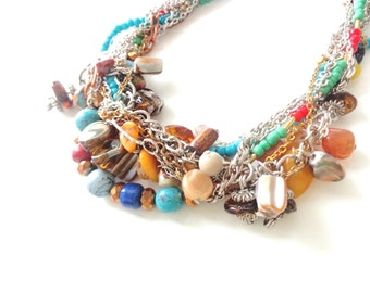 wedding necklace colorful chunky gemstone necklace statement necklace