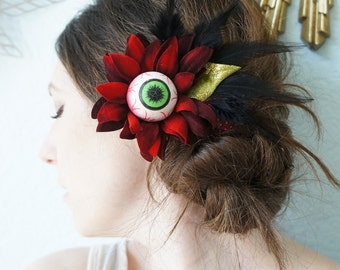 EYE of NEWT --- Feather & Floral Steampunk Gothic Halloween Red Velvet Daisy Black Feathers Lime Green Leaf Headpiece Hair Clip Fascinator
