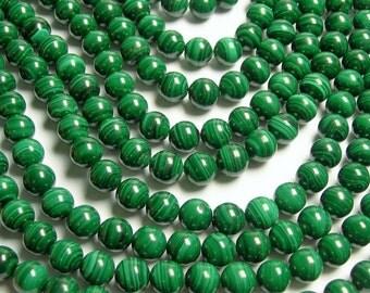 Malachite - 10 mm round beads -1 full strand - 40 beads - Genuine Malachite - RFG617