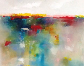 Colorful Abstract Seascape Landscape Original Painting -Red Accent Sea 18 x 24