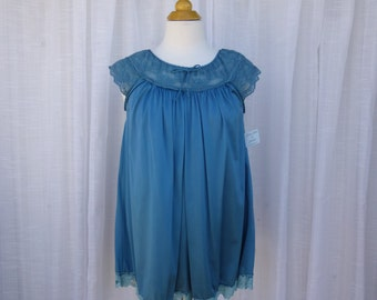 Babydoll S/M Turquoise Blue Glam Garb Handmade USA Romantic Blouse Victorian Nightie Steam-punk Vintage Hand Dyed Retro Maternity Lingerie