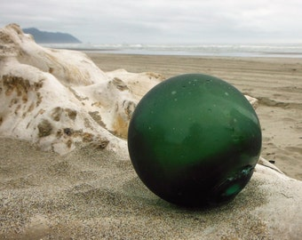 "Japanese Glass Fishing Floats - 3"" Diameter, Alaska Beachcombed, Green, Net Marks"