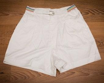 IKute Stuff Shorts & Rainbow Belt, Rap Hip Hop Apparel, High Waisted, Kute, Vintage 80s