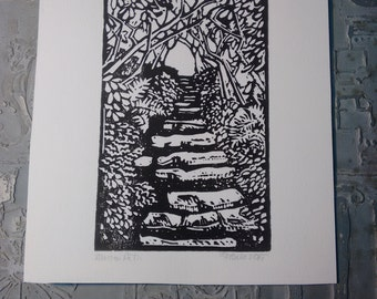 Mountain Path Block Print