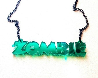 ZOMBIE-Emerald Green Mirror Single Layer Word Laser Cut Acrylic Pendant Necklace