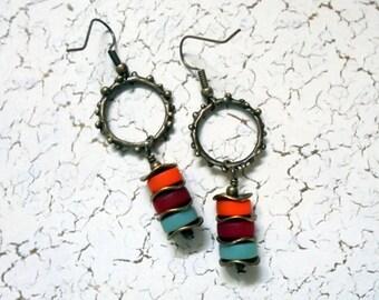 Orange, Red and Teal Sea Glass Earrings (2760)