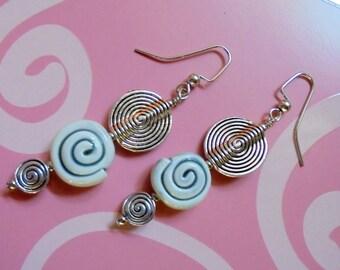 Steel Blue and Silver Swirly Earrings (2864)