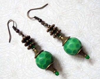 Green Spotted Earrings (2420)