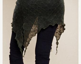 February Sale 20% Off Bottle Green Pixie Skirt - Cute Knit  Skirt