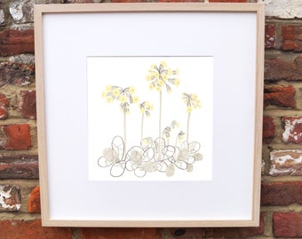 Yellow and Grey Flower Cowslip Print Floral Art