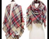 Monogrammed Blanket Scarf - Monogram Plaid Scarf - Monogram Plaid Blanket Scarf - REDUCED PRICE