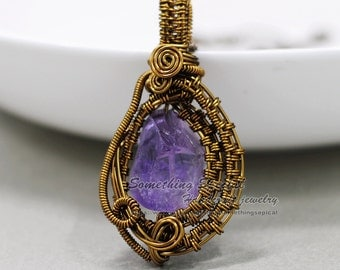Amethyst necklace Raw crystal necklace Purple rough amethyst gemstone pendant Bronze wire wrapped stone pendant Healing crystal jewelry