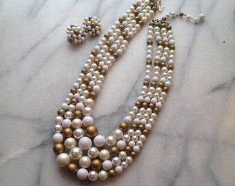 1960s Four Strand Bead Necklace and Earring Set