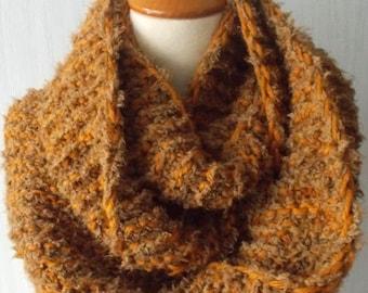 Chunky Cowl Handknitted  Shoulder Warmer in Mustard Hney Brown  for Men Women Super Soft Warm