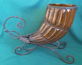 Vintage Wrought Iron & Amber Glass Cage Blown Cornucopia Horn of Plenty Fall Harvest Decoration Centerpiece Vase