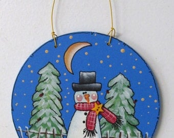 Folk Art Snowman in the Meadow, Round Wood Ornament, Tole or Hand Painted, Hanging Ornament, Teacher or Neighbor Gift, Winter Snowman Scene