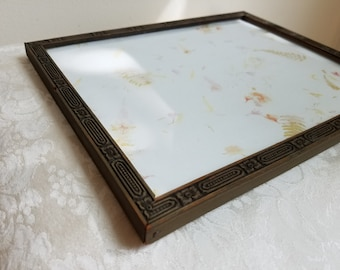 Vintage Wood Picture Frame Embossed 8 x 10 Art Deco Or Arts and Crafts Period, Geometric Medallion Design, Art Supplies