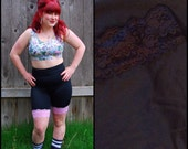 XXL Shiny Spandex Bike Shorts with BLACK lace size 2X