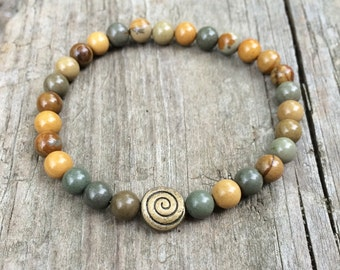 Mustard yellow and gray Jasper stretch bracelet with brass accent