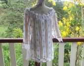 mex crochet + rainbow cotton peasant  blouse, off shoulder long top, hippy, s / medium
