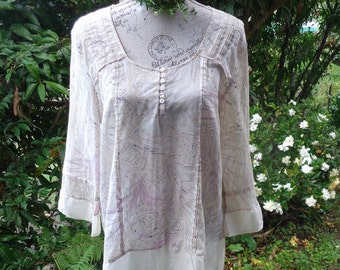 subtle print cotton top, upcycled tunic, large