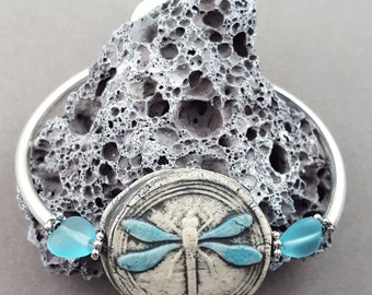 Christmas in July Blue Dragonfly Signed Organic Bangle Bracelet OOAK