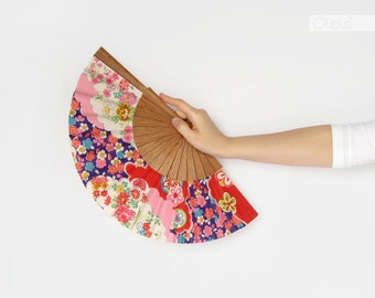 Japanese clouds and flowers | Purple and pink hand fan | Spring home decor | housewarming gift | summer yukata resort decoration
