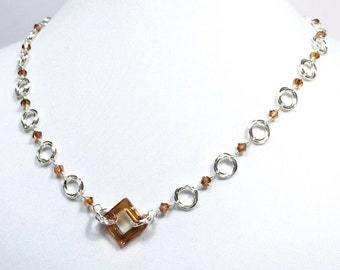 Silver Mobius Wire Wrapped Beaded Chainmaille Necklace with Copper Crystal Square