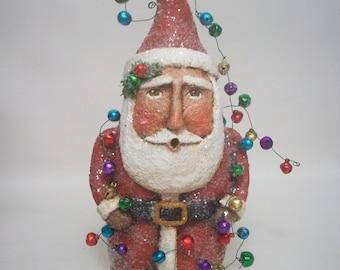 Paper Mache Folk Art Santa with lights